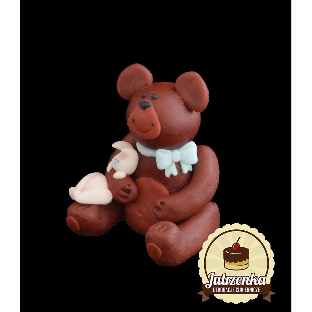 Figurka-cukrowa-Miś-z-króliczkiem-brązowy