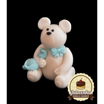 Figurka cukrowa Miś z króliczkiem dziewczynka