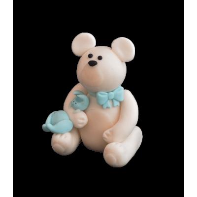 Figurka cukrowa Miś z króliczkiem biały