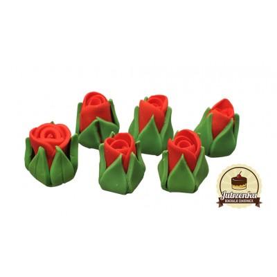Figurka cukrowa róże małe czerwone