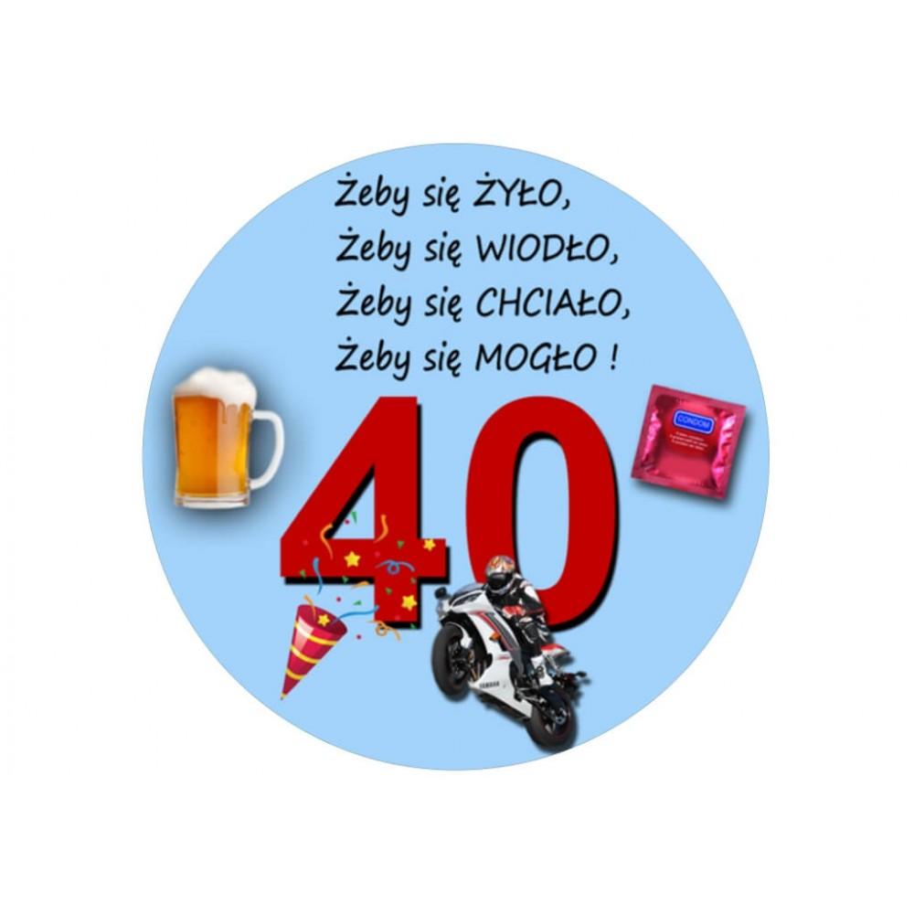 Nadruk jadalny urodzinowy życzenia 40 urodziny