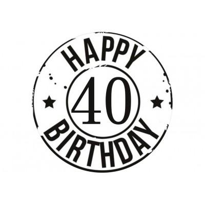 Nadruk jadalny urodzinowy happy 40 birthday