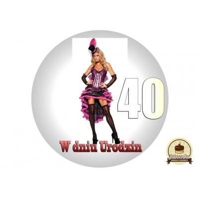 Nadruk jadalny urodzinowy burles 40 urodziny