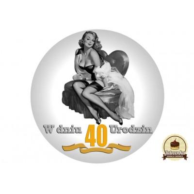 Nadruk jadalny urodzinowy pin up 40 urodziny