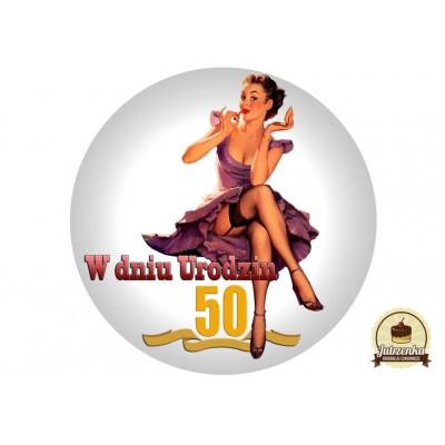 Nadruk jadalny urodzinowy pin up a 50 urodziny