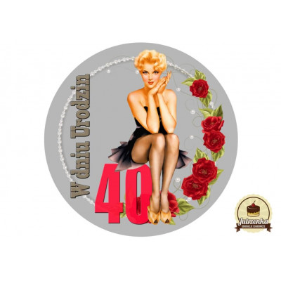 Nadruk jadalny na tort urodziny Pin Up D 40