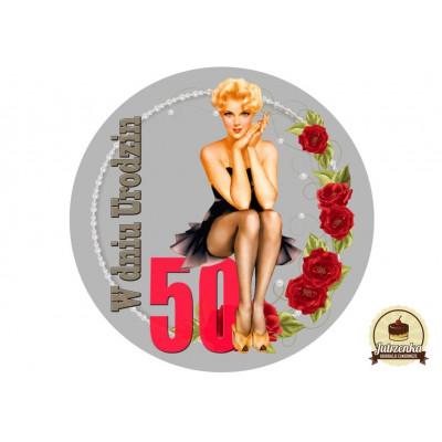Nadruk jadalny na tort urodziny Pin Up D 50