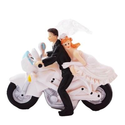 Figurka z tworzywa Młoda Para motocykl