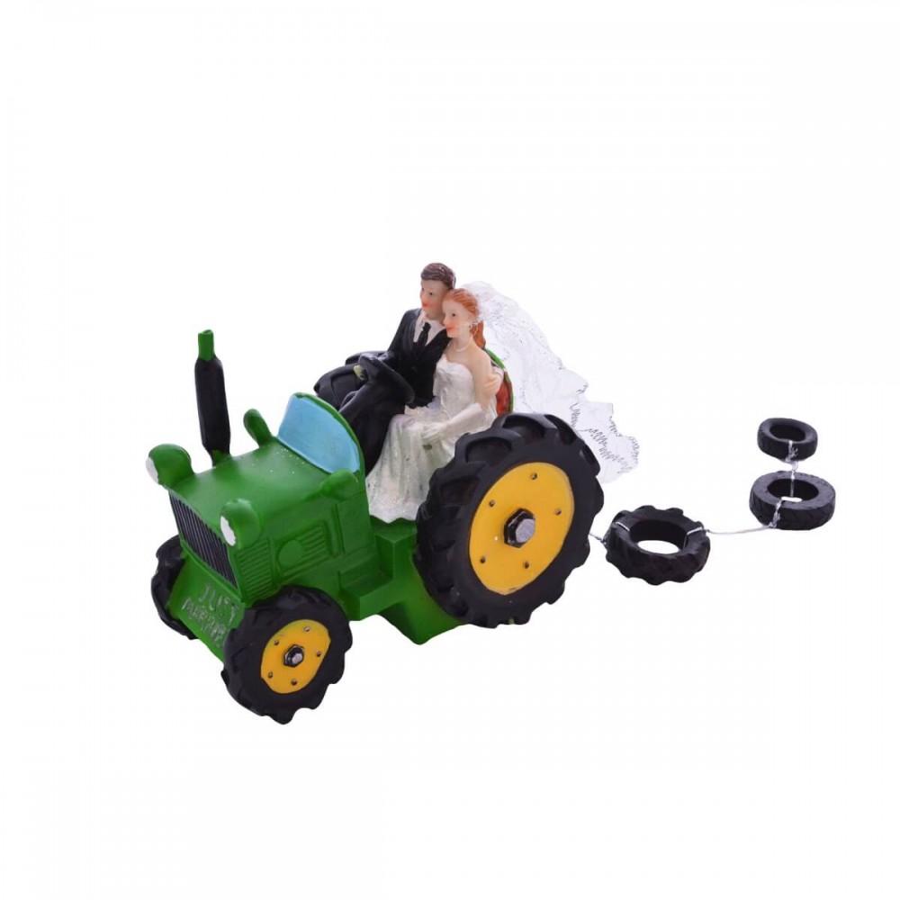 Figurka z tworzywa Młoda Para traktor