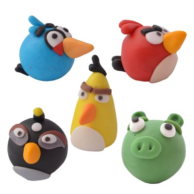 Zestaw figurek z masy cukrowej do dekoracji tortu Angry Birds