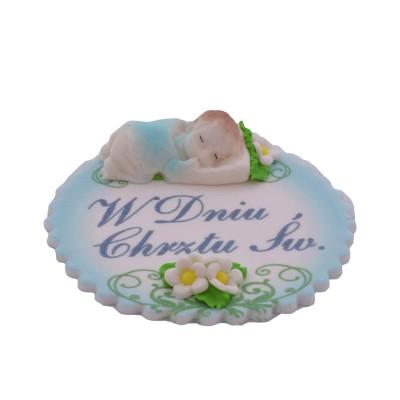 Masa cukrowa Chrzest - Śpiące dziecko chłopczyk niebieski