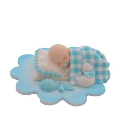 Dekoracja cukrowa śpiący bobas chłopiec