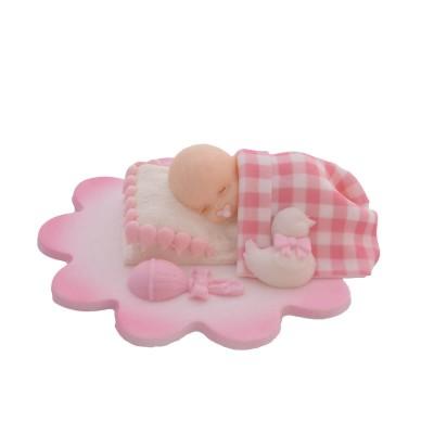 Dekoracja cukrowa śpiący bobas dziewczynka