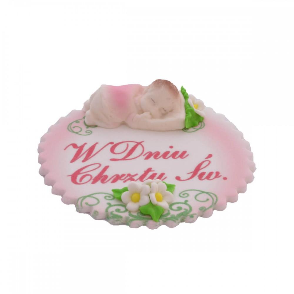 Dekoracja cukrowa Chrzest - Śpiące dziecko dziewczynka